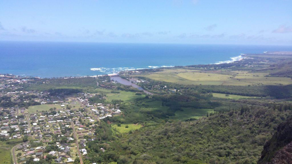 View from top towards Wailua River.